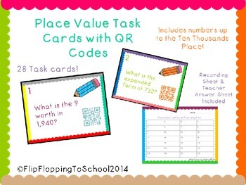 Place Value Task Cards with QR Codes to Ten Thousand
