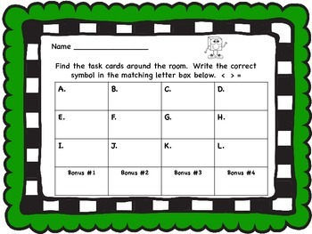 Comparing Numbers Task Cards/Write the Room