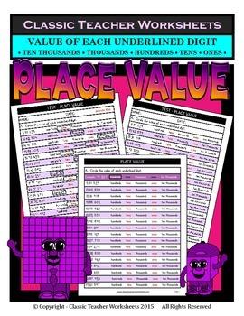 Place Value-Ten Thousands-Value of Underlined Digit-Grades