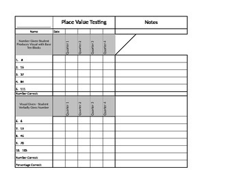 Place Value Test and Recording Sheet