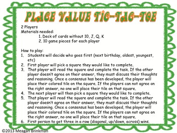 Place Value Tic Tac Toe Game