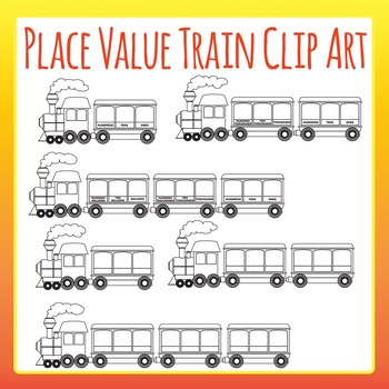 Place Value Train Clip Art Set for Commercial Use