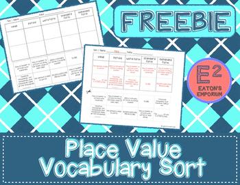 Place Value Vocabulary Sort FREEBIE