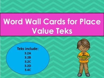 Place Value Vocabulary Word Wall Cards STAAR TEKS 3.2ABCD 3.4C