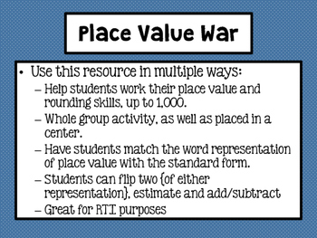 Place Value War Center Game