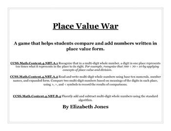 Place Value War - Common Core