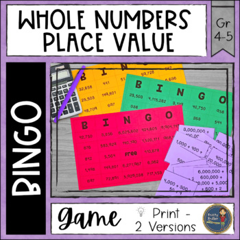 Place Value Whole Numbers BINGO Math Game