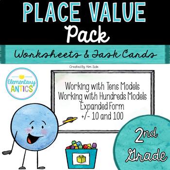 Place Value Worksheets & Task Cards {2nd Grade}