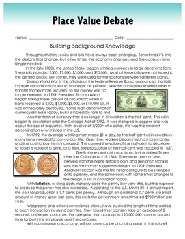 Place Value and Money Debate (for the Gifted Classroom)