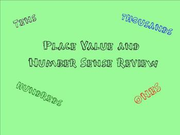 Place Value and Number Sense Review - Smartboard