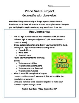 Place Value and Rounding Poster Project