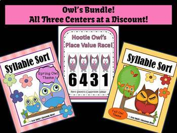 Place Value and Syllable Sort Owl Themed Center Games Bundle