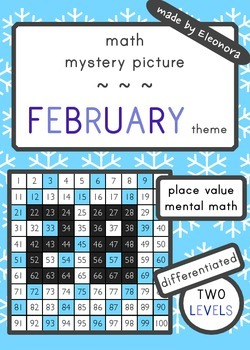 Place Value and mental math mystery picture  - - FEBRUARY
