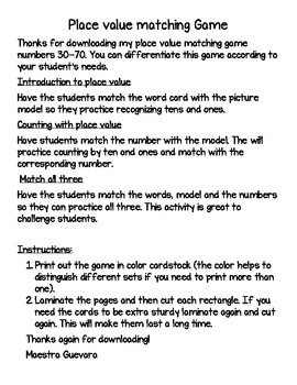 Place Value matching game English 30-70