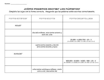 Place Value, number forms 2 - Spanish