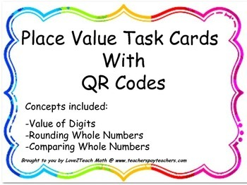 Place Value of Whole Number Through the Millions Task Card