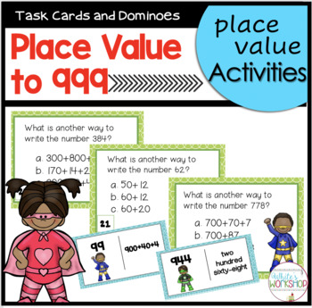 Place Value to 999 Domino and Task Card Activities