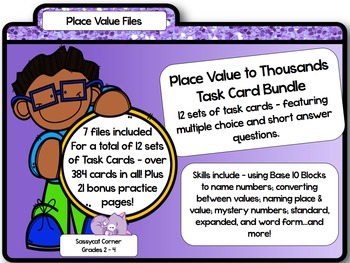 Place Value to Thousands Task Card Bundle
