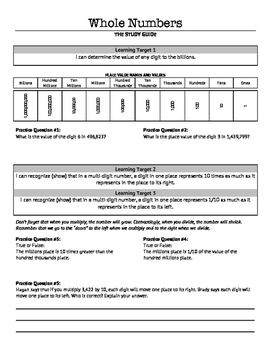 Place Value with Whole Numbers: Unit Study Guide