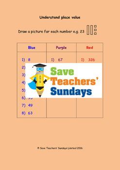 Place value (drawing diagrams) worksheets (3 levels of dif