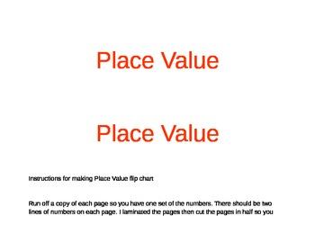 Place value number set flip chart
