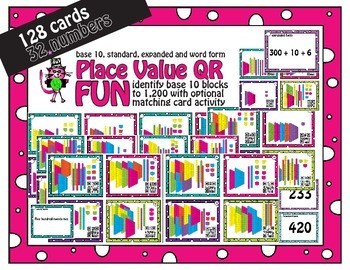 Place value task cards Base Ten Units to 1,200 with QR and