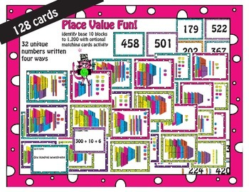 Place value task cards Base Ten Units to 1,200 with option