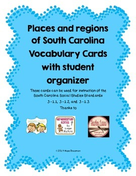 Places and Regions in SC Vocabulary Cards