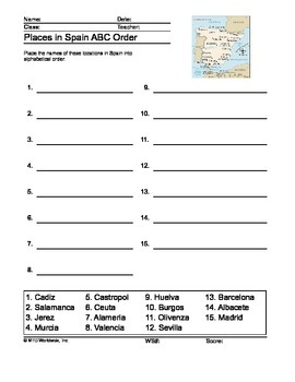 Places in Spain ABC Order Printable
