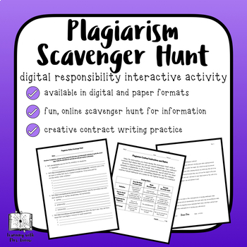 Plagiarism Lesson with Online Scavenger Hunt and Contract