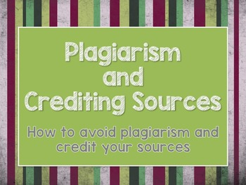Plagiarism and Crediting Sources PDF Presentaiton
