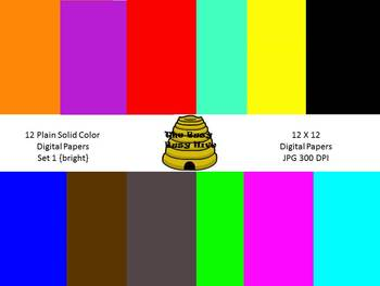 Plain Digital Papers Set 1 Bright{12 backgrounds for perso