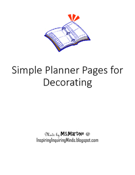 Plain and Simple Planner Pages