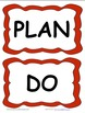 Plan, Do, Study, Act Board Labels Red with Kids