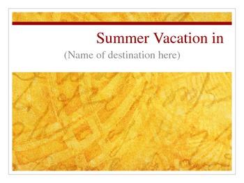 Plan a Summer Vacation PPT slideshow template (supplement