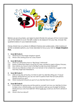 FREE Plan a trip to Disney World with QR codes