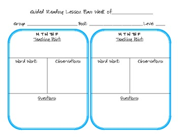 Plan for Guided Reading