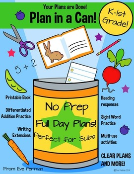Plan in a Can! Emergency Sub Lesson Plans for Kindergarten