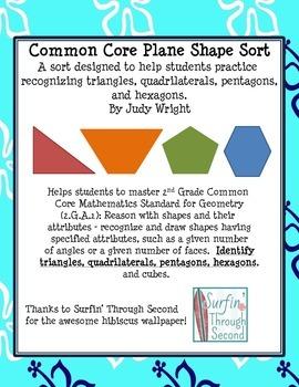 Plane Shape Sort: Triangles, Quadrilaterals, Pentagons, an