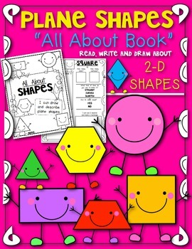 """Plane Shapes """"All About 2D Shapes"""" Book! Let's Read, Draw"""