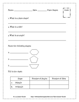 Plane Shapes and Solids Pre and Post Tests (Common Core Al