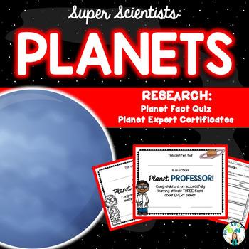 Planet Research Quiz & Certificates