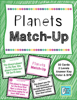 Planets Match-Up Cards
