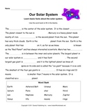 Planets and Space Worksheets