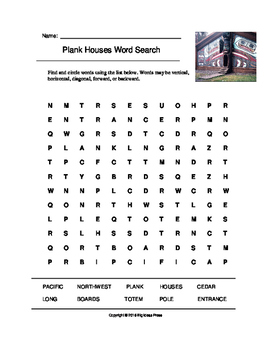 Plank Houses Word Search (Grades 3-5)
