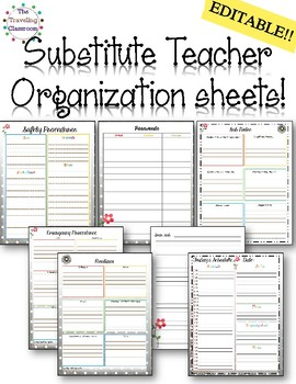 Editable Teacher Planner Organization Sheets - Watercolor Theme