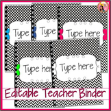 Editable Teacher Binder 2016-2017 (black and white) planne