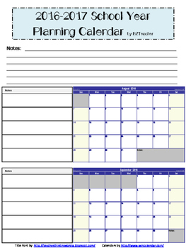 Planning Calendar for 2016-2017 School Year FREEBIE