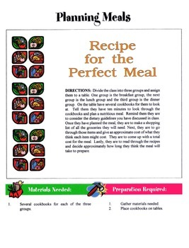 Planning Meals Game / Activity