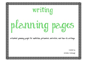Planning Pages for Narrative, Nonfiction, Persuasive, and